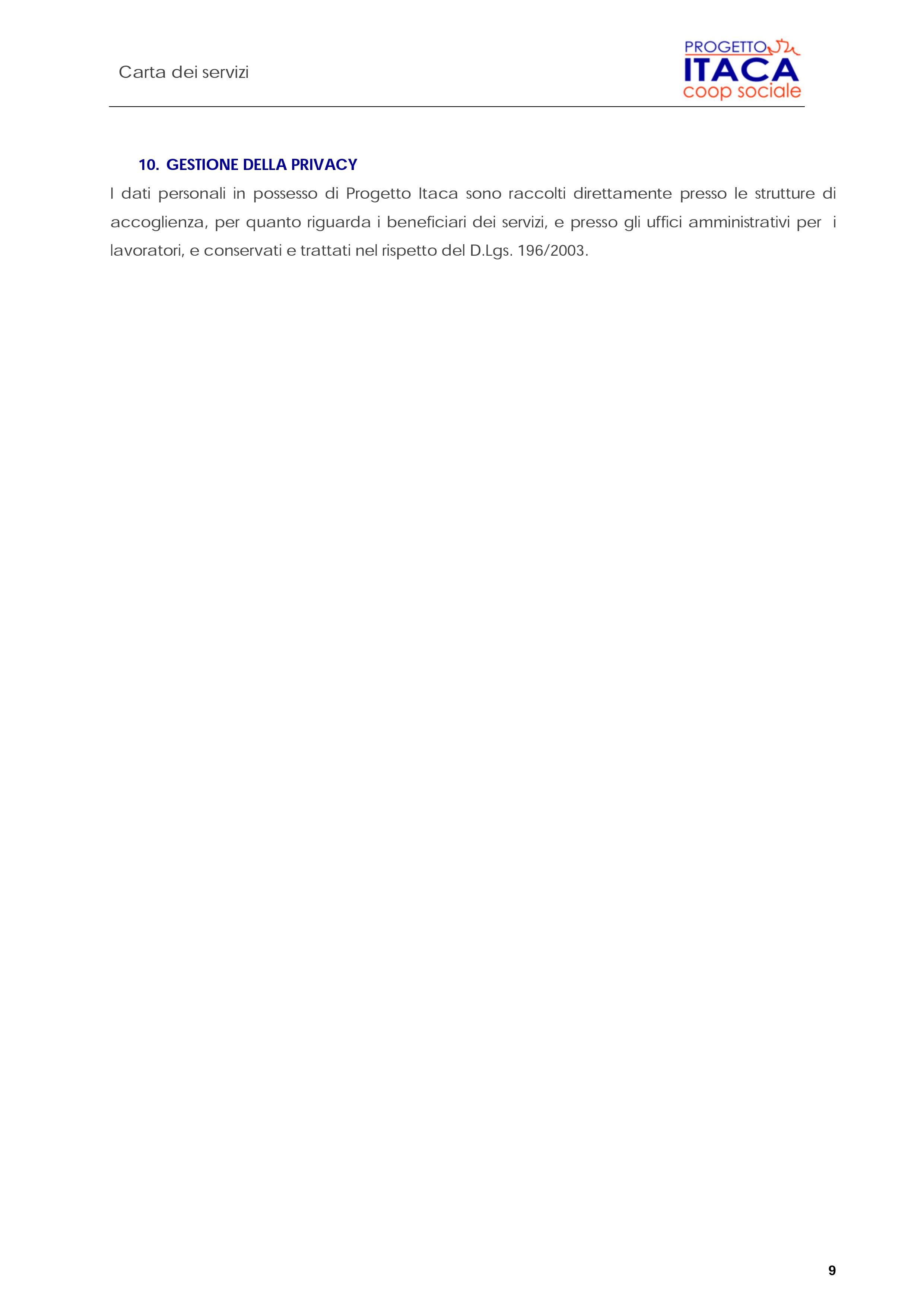 Carta dei Servizi pag. 10